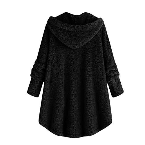 Semen À Noir Hiver Avec Boutons Col Capuche Femme Manches Manteau Polaire Veste Longues Rond FawFxfqrn