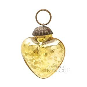 Mini Gold Mercury Glass Ornament (heart design)