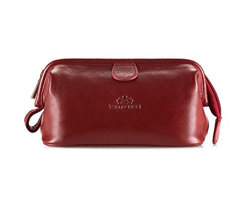 Wittchen Sacchetto cosmetico - Rosso | 12x21 cm, Pelle di grano, Italy - 21-3-004-3