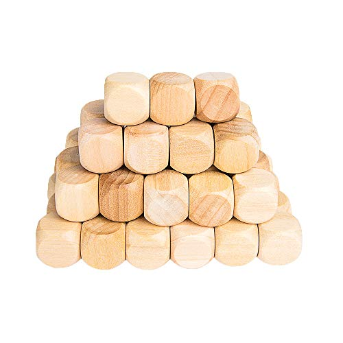Dice Display (Wooden Cubes Crafts, Blank Dice Set, Wood Square Blocks for Puzzle Making, Crafts and DIY, Set of 50)