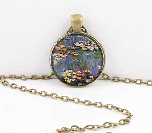 (Bloody devil Art Picture Necklace,Claude Monet Impressionism Waterlilies Pendant Necklace or Key Ring Art Pendant,Gift of Love)