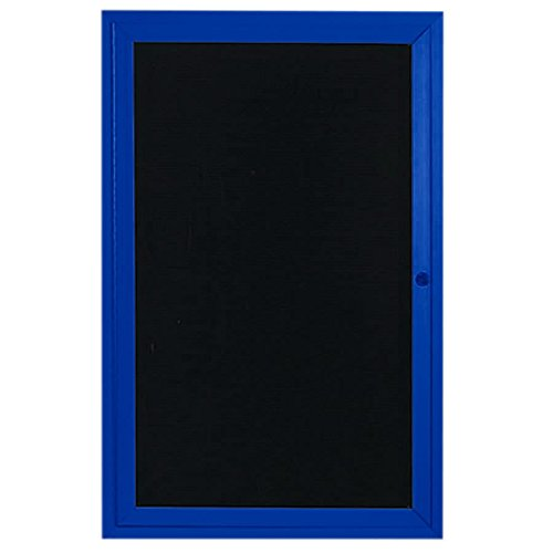 TableTop King OADC2418B 24'' x 18'' Enclosed Hinged Locking 1 Door Powder Coated Blue Aluminum Outdoor Directory Board with Black Letter Board