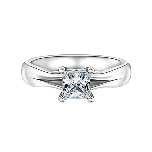 Aokarry Ladies Jewelry S925 Silver Ring Band Engagement Ring 4-Prong Setting Princess Cut Cubic Zirconia Size -