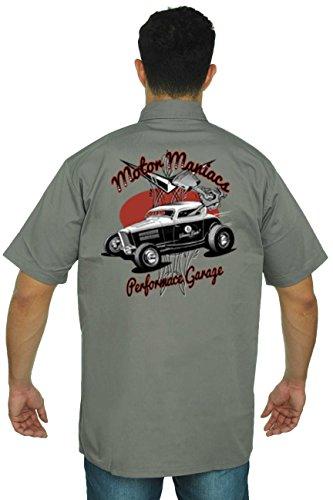 Hot Rod Mens Button Front (Men's Mechanic Work Shirt Motor Maniacs Hot Rod Grey (XL))