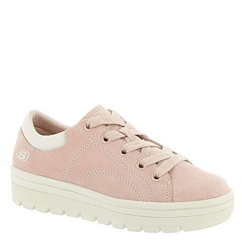 Skechers Women's Street Cleat-Back Again. Contrast Stitch Suede Sneaker,Light Pink,8.5 from Skechers