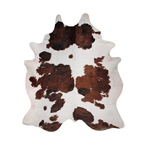 ecowhides Tricolor Brazilian Cowhide Area Rug, Cowskin Leather Hide for Home Living Room (Large) (Brazilian Cowhide Rugs)