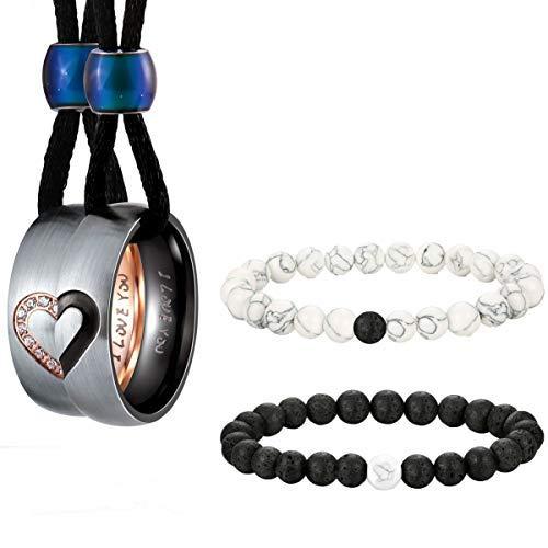 a3510499180b Milacolato Collares de Acero Inoxidable para Parejas Anillos a Juego del  Corazón para Hombres y Mujeres Cuerda Colgante CZ Pulsera Negro ágata Mate  ...