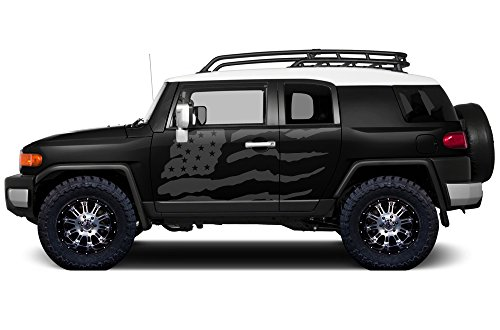 (Factory Crafts Patriot Side Graphics Kit 3M Vinyl Decal Wrap Compatible with Toyota FJ Cruiser 2007-2014 - Nimbus Gray)