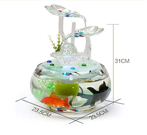 - 100-220V Ceramic vase Water Fountain Feng Shui Ornaments LED Lights Lucky Home Decorative Art humidifier Glass Aquarium, C