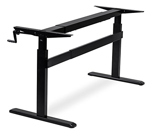 Ez Crank (Mount-It! Stand Up Desk With Manual Crank, Frame Only, Height Adjustable Sit-Stand, Standing Ergonomic, Black)
