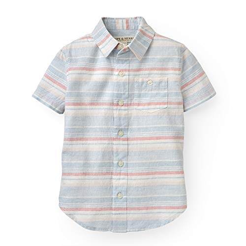 Boys Dressing Up Outfit (Hope & Henry Boys' Blue and Pink Slubby Poplin Short Sleeve Button)