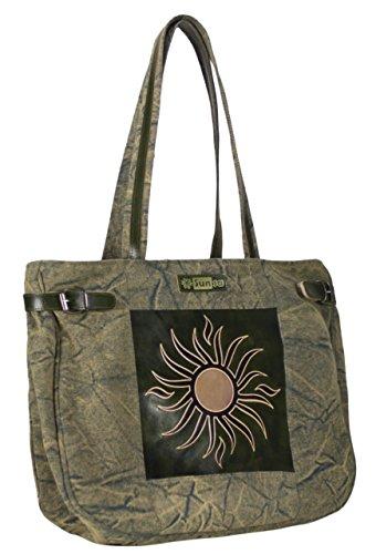 Sunsa Shopper Sac bandoulière femme Sac à main Sac à bandoulière en toile et leder39x 34x 11cm