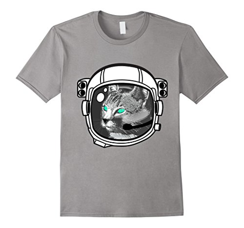 Men's Astronaut Cat Sci-fi kitty helmet party black T-Shirt 2XL Slate (Adult Astronaut Helmet)