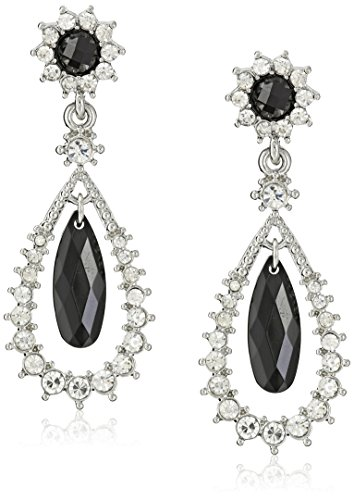 1928 Jewelry Silver-Tone Black and Crystal Caged Teardrop Earrings