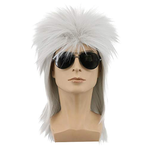 Yuehong 70s 80s Heavy Metal Halloween White Wigs Costume Spiked Rocker Wig Mullet Wigs (White)]()