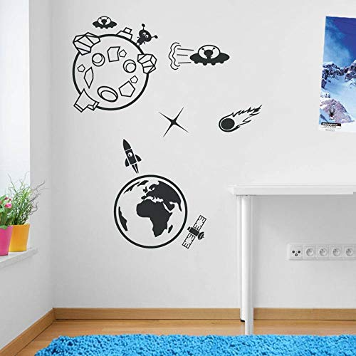 CECILIAPATER Earth Moon Alien Rocket Meteor Space Wall Window Stickers Decals Kids Decor A138 ()