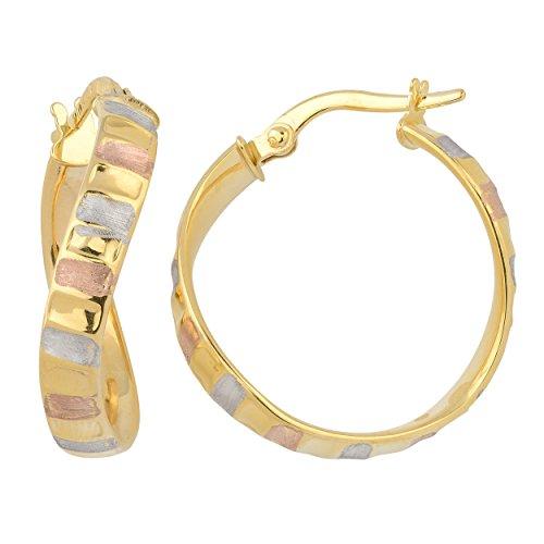 (Kooljewelry 14k Tricolor Gold 4x20 mm High Polish and Satin Finish Twist Hoop Earrings)