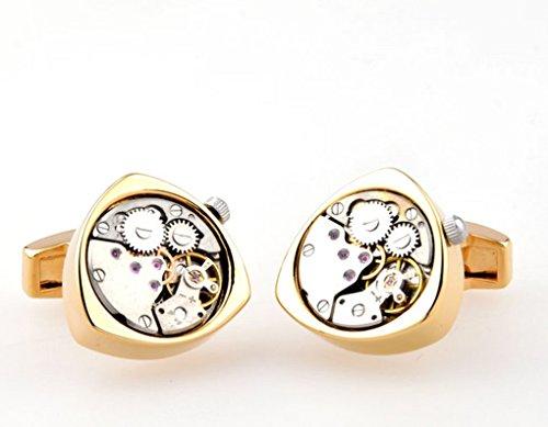 SuperbMatch Cufflinks For Men Or Women Designs Functional Mechanical Cufflinks - Round gold watch movement stripes cufflinks gift for men Business cuflinks for men -KLJC2847