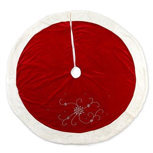 56 inch Red Velvet Silver Tone Beaded Snowflake Plush Fabric Christmas Tree Skirt (56 Velvet Red Inch)