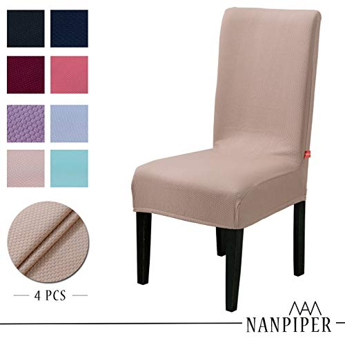 NANPIPER Dining Chair Slipcovers Washable Stretch Chair Covers for Dining Room Spandex Stretch Fabric Home Décor Set of 4 Beige