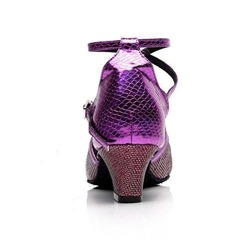 UK3 Salsa Our35 Heels Shoes Chacha Tango 5cm Purple Jazz heeled7 5 Latin Dance Women's High EU34 Samba Dance Sandals Modern JSHOE IfwqROTxT