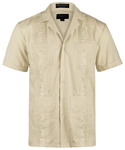 Ward St Men's Short Sleeve Cuban Guayabera, M, 15-15.5N, Khaki