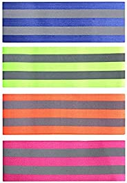 4 pairs Reflective Arm Band with Velcro for Running Reflective Armband Belt Strap for Outdoor Sports Night Run