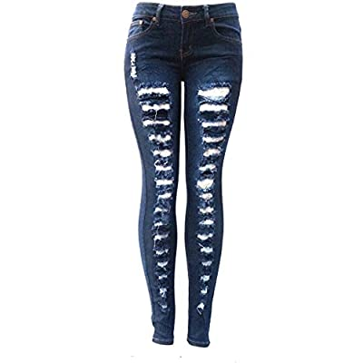 New X6O Ladies DARK BLUE Denim JEANS Distressed Stretch Ripped Destroy SKINNY Pants free shipping