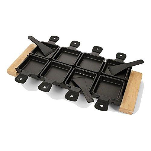 BOSKA Partyclette XL, Tea Light Raclette Set with 8 pans, European Oak Wood