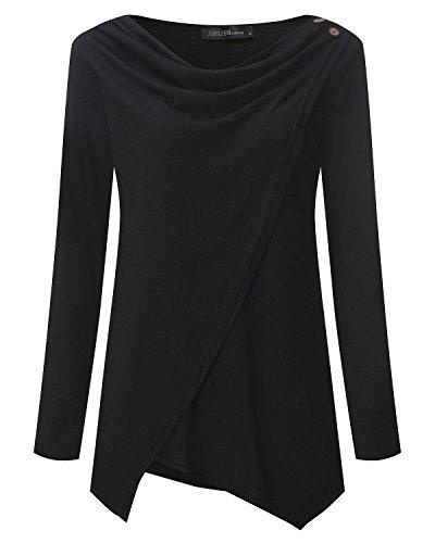 Pullover Manica Top Maglione Elegante Maglia Donna Cotone Crochet StyleDome Nero Lunga Moda 8BAI6q