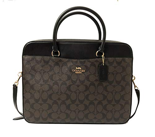 COACH Signature Laptop Bag F39023 Brown/Black