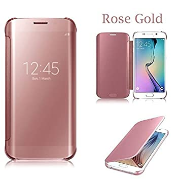Rose Gold Luxury Mirror Smart Clear View Flip Hard Back Case For Samsung 26b4b29116a9