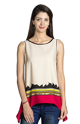 MOHR Women's Shirt with Abstract Print Medium Beige by MOHR - Colors of India