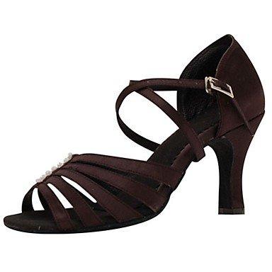 Marron Chaussures de Danse Femme Satin Latin Salsa Sandales Talon Intérieur Performance Marron