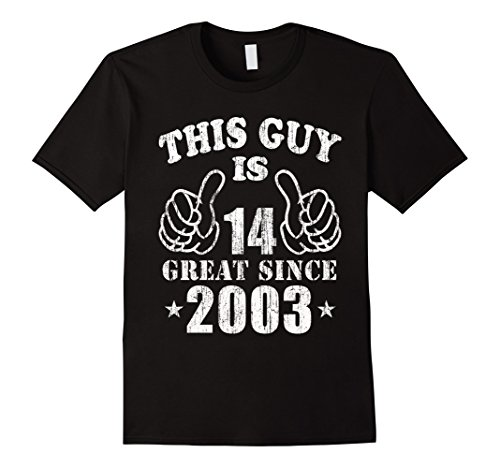 Mens 14th Birthday Gifts Shirt This Guy Is 14 Years Old T-Shirt Large Black