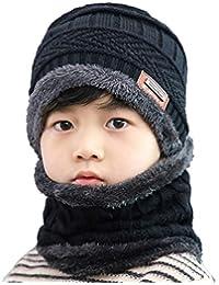 29d8ade857d Hat Beanie Scarf Set 2pcs Child Kids Boys Girls Winter Snow Knit Skull Cap  Circle Scarves