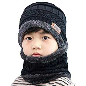 ANJUREN Hat Beanie Scarf Set 2pcs Child Kids Boys Girls Winter Snow Knit Skull Cap Circle Scarves