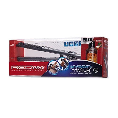 RED PRO HYBRID TITANIUM 2in1 Root Straightener Flat Iron 1/2