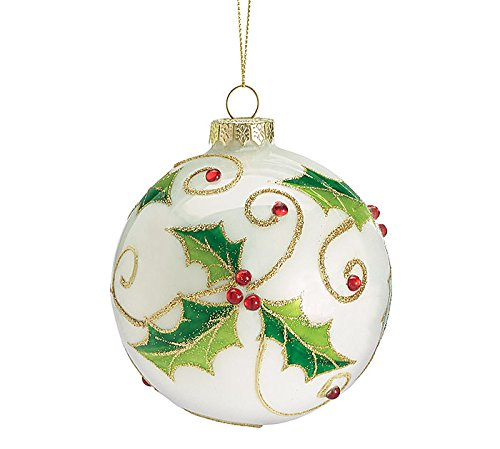Glass Round Holly and Sequin Berry Christmas Ornament