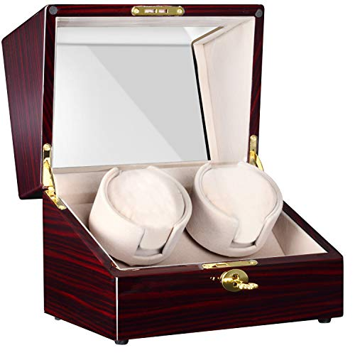 (CHIYODA Automatic Double Watch Winder with Two Quiet Mabuchi Motors, LCD Touch Control)