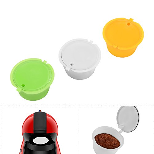 FreeLeben Capsulas de Cafe Vainas, 3 Unidades Reutilizable Universal Dolce Gusto Maquina Filtro de Cafe sin BPA, con Cuchara y Cepillo