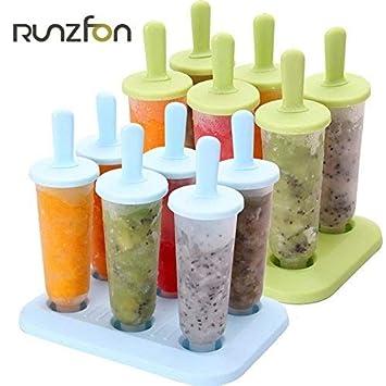 Unicoco 6 Cell Pop Frozen helado, verano, bricolaje, hielo, molde de plástico, apto para uso alimentario con base 6.3 verde: Amazon.es: Hogar