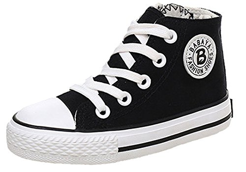 iDuoDuo Classic Kids Casual Comfort Zipper Lace Up High Top Canvas Shoes (Toddler/Little Kid/Big Kid)