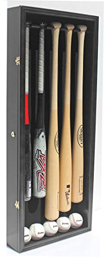 Pro UV 5 Baseball Bat Display Case Holder Rack Wall Cabinet, Horizontal/Vertical Wall Mount B55 (Black Finish)