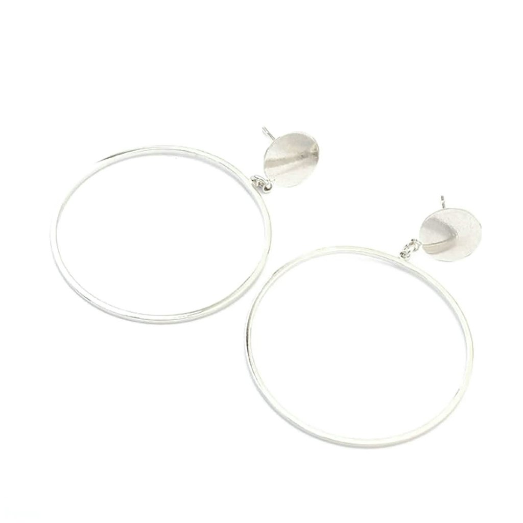Gnzoe Womens Stud Earrings Alloy Hollow Circle Silver