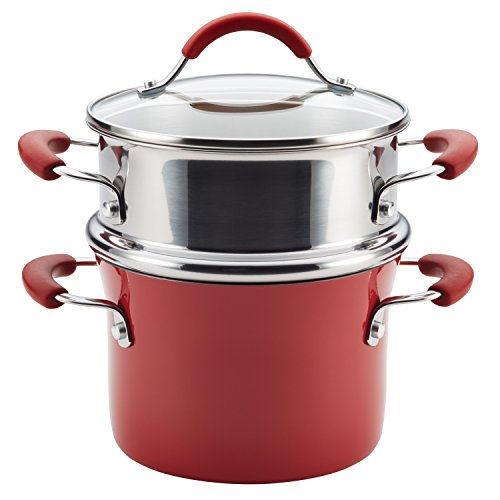 Polished Red Enamel - Rachael Ray Cucina Hard Porcelain Enamel Nonstick Multi-Pot / Steamer Set, 3-Quart, Cranberry Red