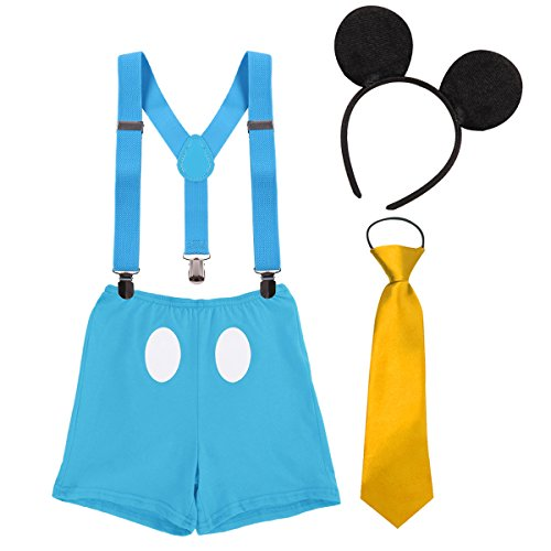 Baby Boy Mouse Cake Smash First Birthday Bloomers Suspenders Necktie Ear Headband Clothes Outfits Photography Props Costume Boxers & Blue 0-6 -