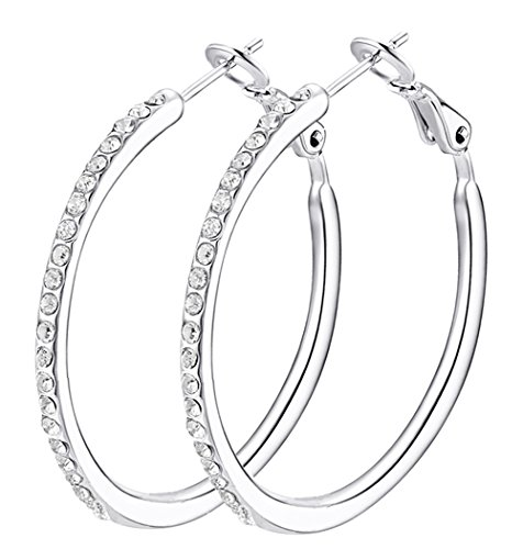 HZSIKAO Hoop Earrings, Stainless Steel Women's Cubic Zirconia Earrings, Rhinestone Girls Earrings