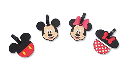 Finex Set of 4 - Mickey Mouse Minnie Mouse Travel Silicone Luggage Tags Bag Tag Adjustable Strap
