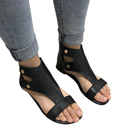 Janly® Summer Shoes, Womans Sandals Fashion Flat Roman Shoes Ladies Casual Open Toe Shoes Size 4-8 Black